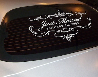 Just Married with date car decal