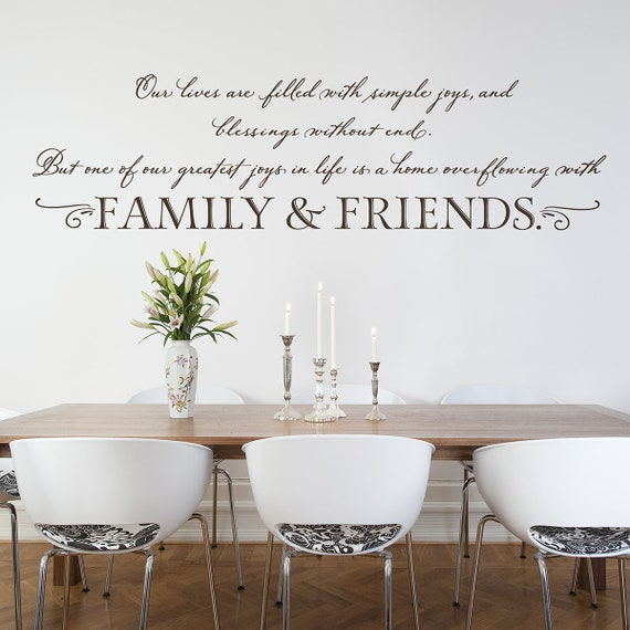 family wall quote vinyl wall decal living dining room | etsy