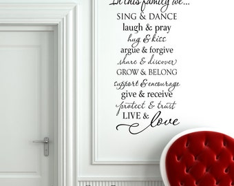 In this family we hug & kiss - Vinyl Wall Decal Lettering design sticker art