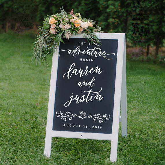 Chalkboard Sign Decal Diy Wedding Signs Let The Adventure Begin Chalkboard Sign Custom Wedding Decals Welcome Wedding Sign