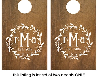 Cornhole Decals | Monogram Cornhole Decals | Wedding Cornhole Decals | Personalized Corn Hole Board | Rustic Wedding Decor