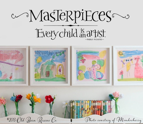 Masterpieces Wall Decal Every Child Is An Artist Picasso