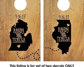 Corn Hole Board Decal | Rustic Wedding | Cornhole Board Monogram Decal | Cornhole Decal | Personalized Cornhole Game Decal | States