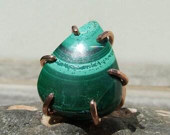 Malachite Copper Ring size 4