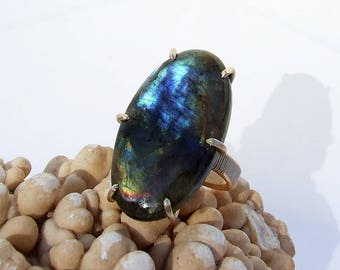 Labradorite Ring, large stone statement ring, oval cabochon, prong set gold, natural blue stone