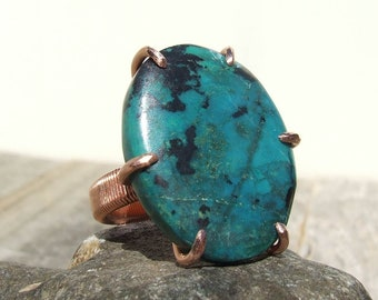 Chrysocolla Copper Ring size 6