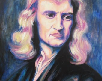 "Scientist ""Isaac Newton"" Original signed oil painting by Mel Fiorentino."