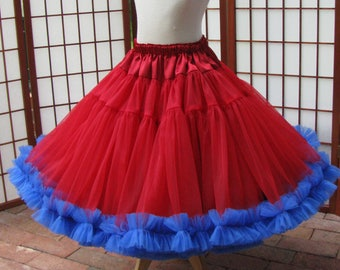 2 Layers Made to Measure Fully Lined Custom Size Length Ocean Blues Chiffon Skirt Adults /& Children and Colors
