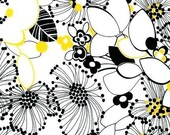 NEW Robert Kaufman Night and Day 2, Retro Floral Yellow\/Black, 1 Yard