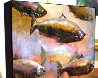 """Salmon Fish Art """"Salmon Journey"""" Gallery Wrap Canvas Print Signed and Numbered"""