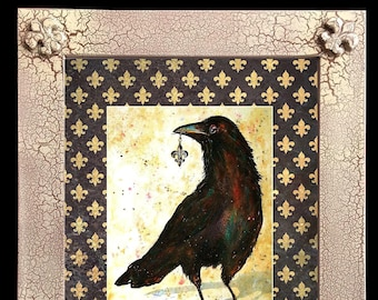 """Fleur de Lis Crow Art Framed Distressed/Matted """"Finders/Keepers"""" Signed and Numbered"""