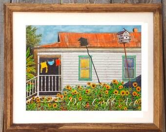 "Clothesline Shotgun House Art 22x18"" Framed & Matted ""Shotgun Sunflower House"" Print Signed and Numbered"