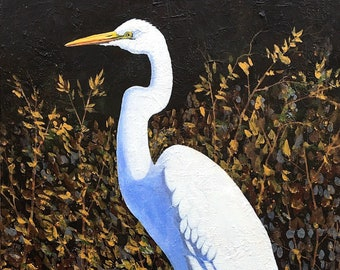 Great White Egret - Louisiana Swamp Bird - Shore Birds - Art Print Signed and Numbered - Five Print Sizes - Don Cobb Art