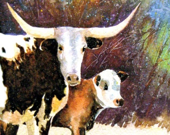 """Texas Longhorn Cow Calf Art """"Longhorn Mama Cow"""" Prints Signed and Numbered"""