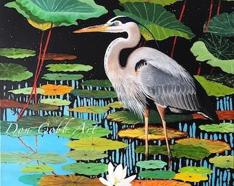 Great Blue Heron Art - Louisiana Swamp Bird Art - Print Signed and Numbered - Five Print Sizes - Don Cobb