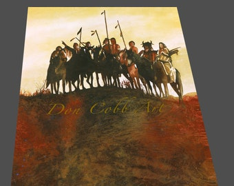 """18x24x1.5"""" Native American Art """"Crow Warriors"""" Gallery Wrap Canvas Print, Signed and Numbered, Free Shipping"""