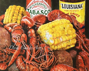 Crawfish Watercolor Art - Crawfish Boil - Prints Signed and Numbered - Five Art Print Sizes - Don Cobb