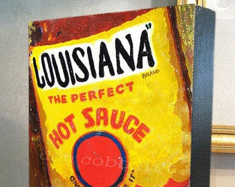 "Louisiana Hot Sauce Art 11x14x1.5"" Canvas Print on Gallery Wrap Canvas"