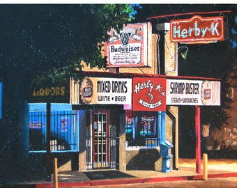 "Shreveport Herby K Seafood Restaurant Art 13x19"" Print ""Herby K's Night Scene"" Signed and Numbered"