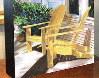"""Wooden Lawn Chair Art """"Yellow Chairs"""" 8x10x1.5"""" and 11x14x1.5"""" Gallery Wrap Canvas Print"""