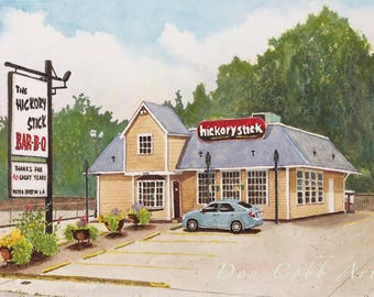 Shreveport Hickory Stick Bar-B-Que Art Print Signed and Numbered