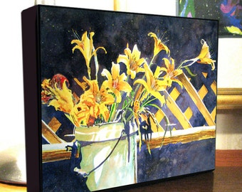 """Daylily Flower Art """"Daylily Bucket"""" 8x10x1.5"""" and 11x14x1.5"""" Gallery Wrap Canvas Print"""