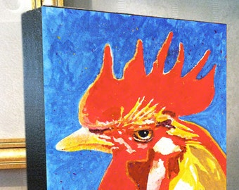 """Rooster Chicken Art """"Rooster Poppa"""" 8x10x1.5"""" and 11x14x1.5"""" Gallery Wrap Canvas Print Signed and Numbered"""
