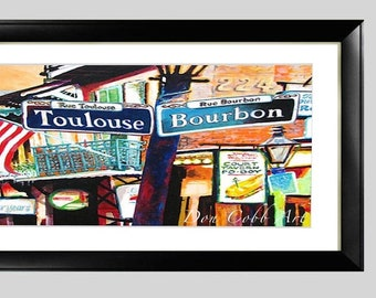 """French Quarter Art, Toulouse and Bourbon Street, Framed 22x12"""" Matted Print Signed and Numbered"""