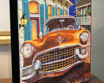 "New Orleans Art 1955 Cadillac ""French Quarter Caddy""  8x10x1.5"" and 11x14x1.5"" Gallery Wrap Canvas Print"