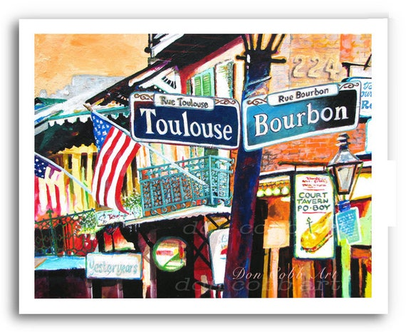 New Orleans French Quarter Art Mardi Gras Bourbon And Toulouse