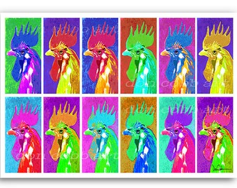 """13x19"""" Rooster Art """"Twelve Angry Roosters"""" Signed and Numbered"""