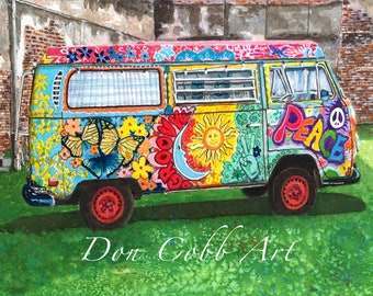 """Volkswagen Hippie Bus Art """"Peace to the 2nd Power"""" Prints Signed and Numbered"""