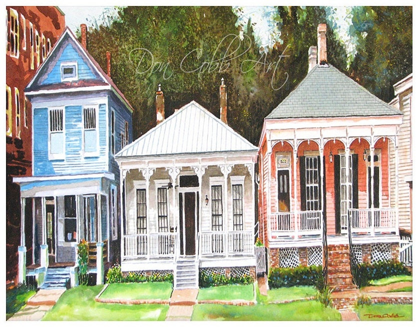 13x19 Victorian Shotgun Houses Art Signed Numbered Print
