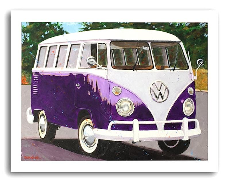 Volkswagen Art Hippie Love Vw Bus Vw Purple Split Etsy