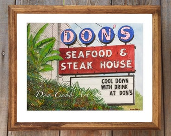 """Don's Seafood Original Watercolor Painting Matted and Framed 22 x 18"""" (NOT A PRINT) Free Shipping"""
