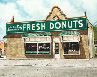 Donut Shop Art - Southern Maid - Shreveport - Greenwood Road - Prints Signed and Numbered - Five Art Print Sizes