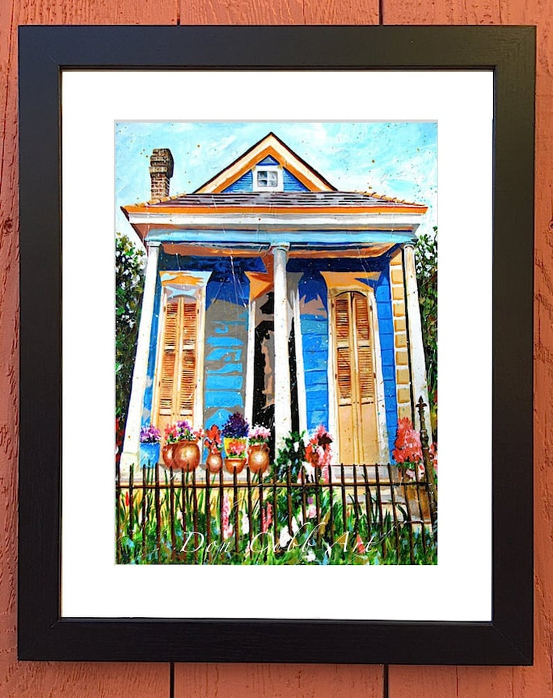 Garden District Shotgun House Art Framed and Matted Bloom Street Signed and Numbered Print New Orleans Two Sizes