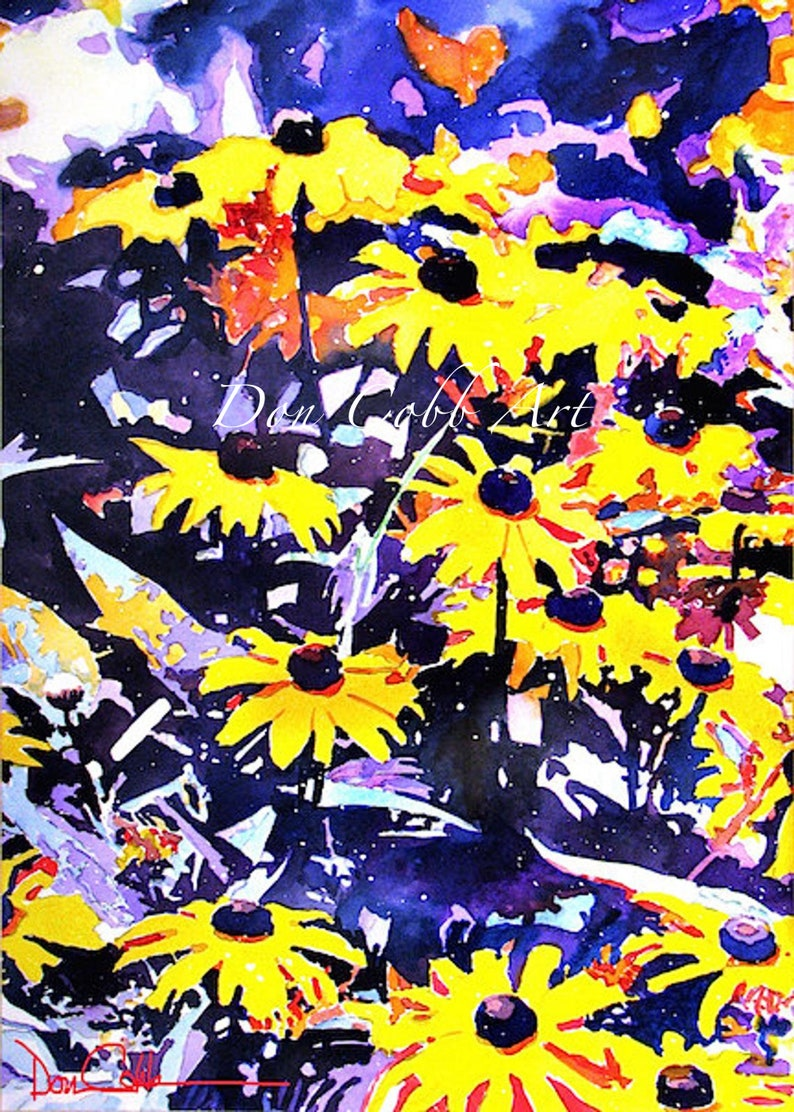 Flower Art Black Eyed Susan Two Sizes Gallery Wrap Canvas Prints Signed and Numbered