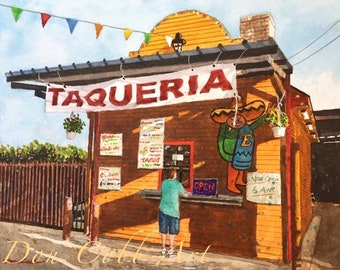"""Taco Stand Art Print """"Taqueria"""" Signed and Numbered, Four Art Print Sizes"""