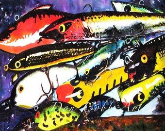 """Fishing Lures Lake House Decor Art """"Cranky Baits"""" Prints Signed and Numbered"""