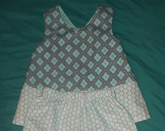 Slip on Reversible/Lined Summer Top with Shorts/Diaper Cover/12-18 months