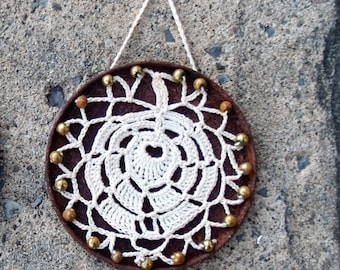 Small Wall Hanging Croched Leaf on Rusted Metal