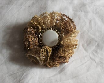 Crochet Lacy Flower Pin/Brooch or Scarf Holder with Vintage Button Center