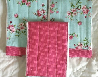 Diaper Rag Burp Cloths in Teal/Pink Floral and Pink Polka Dots