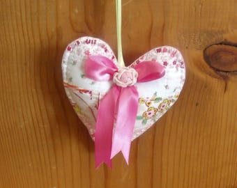 Stuffed Patchwork Heart Ornaments/Hanging Decor/Valentines with a Hot Pink Colored Felt Backing