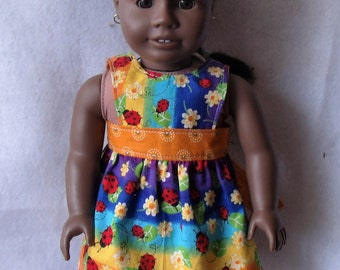 "American Girl/18"" Doll Reversible Apron or Pinafore in Rainbow Ladybug and Orange"