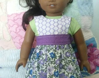 "American Girl/18"" Doll Reversible Apron or Pinafore in purples"