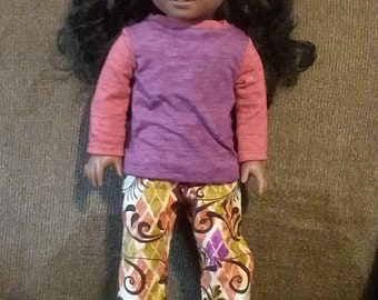 "American Girl Type Doll/18"" Doll Loungewear pants and long sleeved t-shirt"