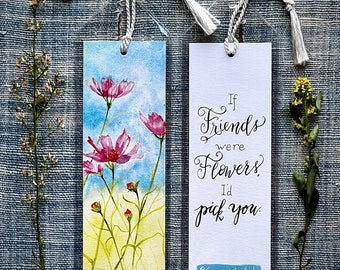 Bookmark, Friends quote, watercolor, calligraphy, stocking stuffer
