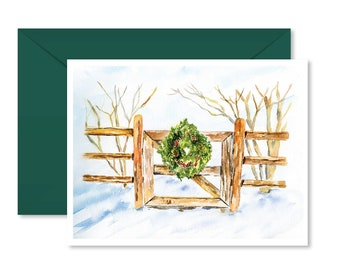 Christmas card, Wreath, Holiday, Greeting Cards, Blank Inside